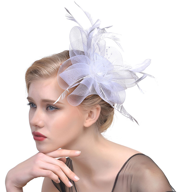 bc7f5ee9 Detail Feedback Questions about WELROG Ladies Royal Fascinators Hat Bride  Wedding Sinamay Cocktail Fascinator Women Mesh Feather Top Hats Party  Fedora Cap ...
