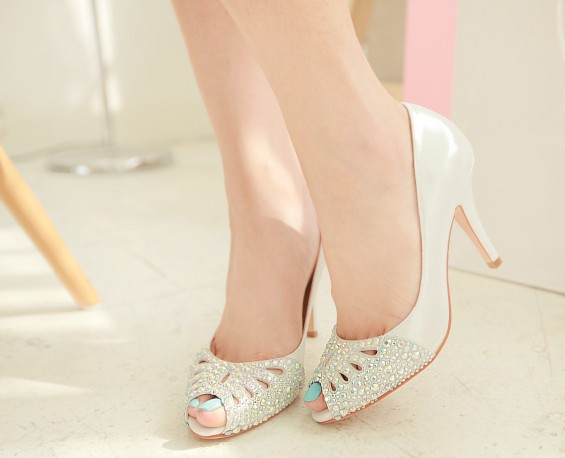 2016 New Hot Sale Spring And Summer High Heel Sandals Peep Toe Rhinestone Wedding Bridal Dress Shoes Rhinestone Shoes Size34-43 lanyuxuan 2017 new hot sale sandals