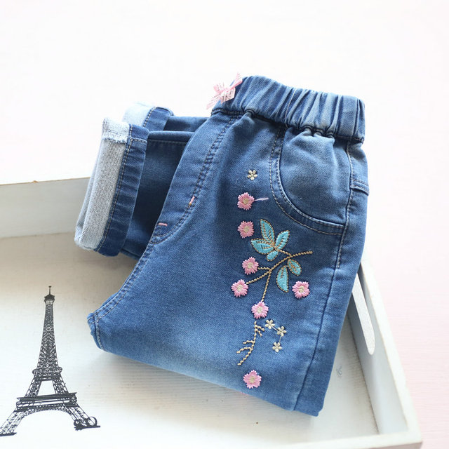 f3e387c33 Spring 2017 children s clothes girls jeans causal denim embroidery ...