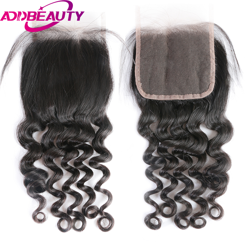 AddBeauty Natural Wave Brailian virgin Hair 4 x 4 Lace Closure Pre Plucked With Baby Hair