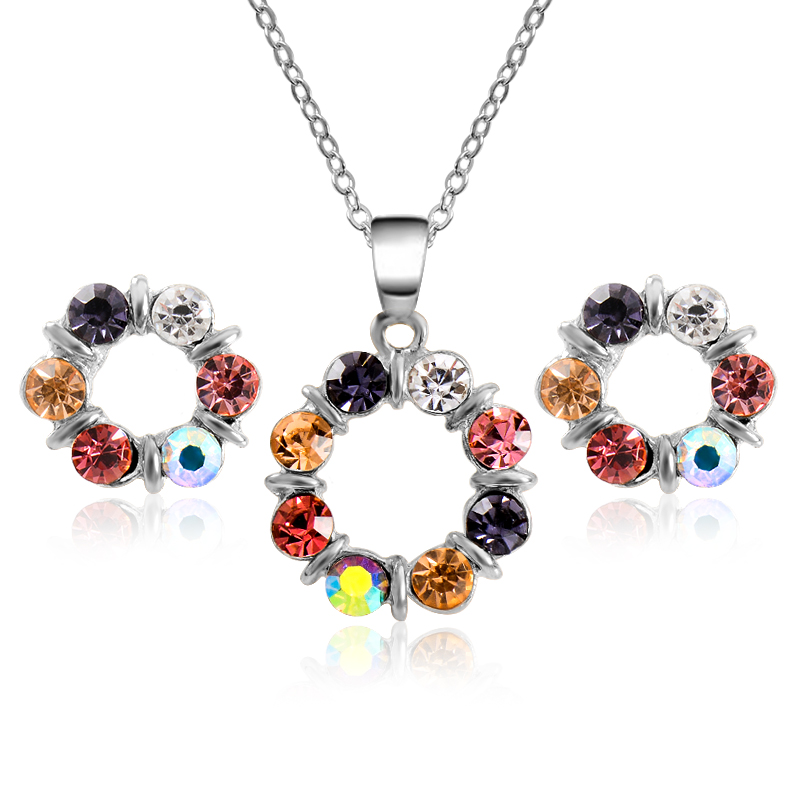 MISANANRYNE Gold Color Jewelry Sets Shiny Multicolor Circle Crystal Pendant Necklace Earrings Jewelry Sets