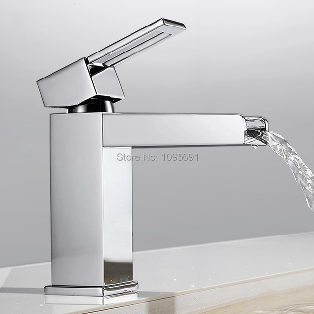 Maideer Br Basin Faucet Single Handle Waterfall Bathroom Vanity Sink With Extra Large Rectangular Spout