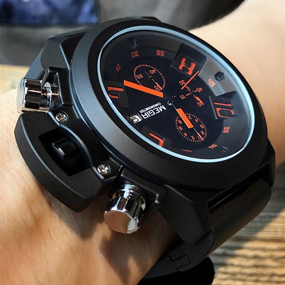 Для мужчин s часы хронограф Топ Элитный бренд Megir Для мужчин военные спортивные наручные часы силиконовый ремешок Кварцевые часы Relógio Masculino