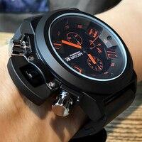 Mens Chronograph Watches Top Luxury Brand Megir Men Military Sport Wristwatch Silicone Strap Quartz Watch Relogio Masculino