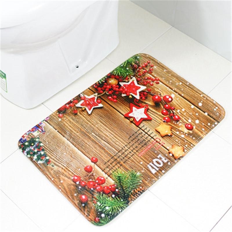 Anti Slip Christmas Carpet Bath Mat Sets For Bathroom