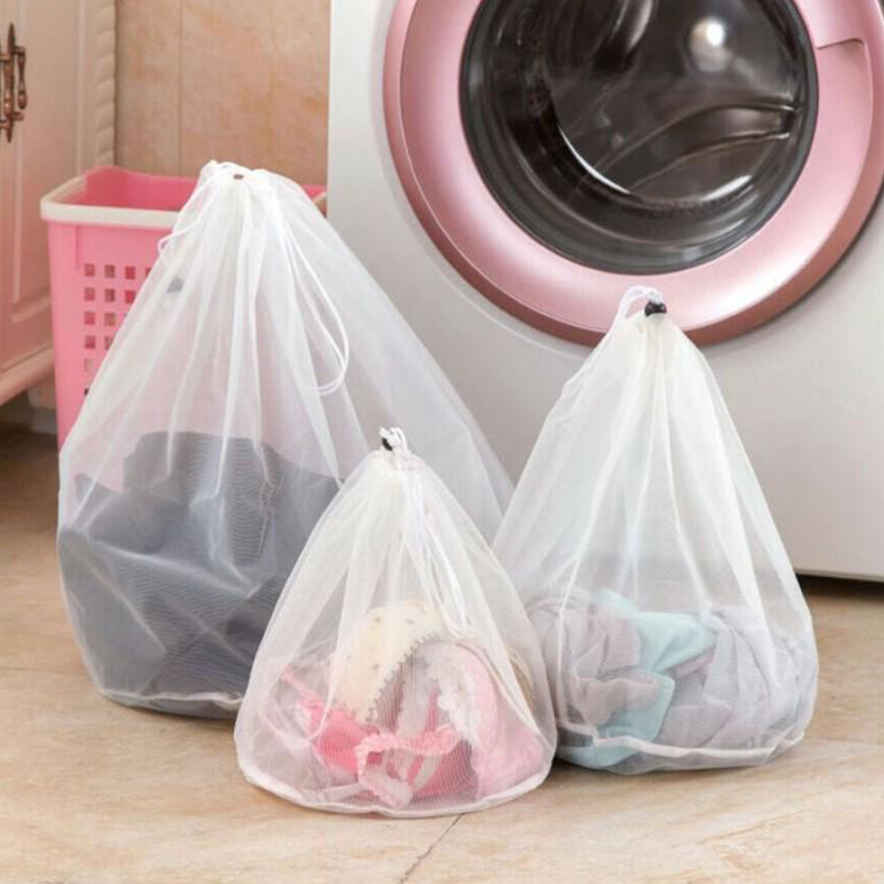 3 Size Drawstring Mesh Laundry Wash Bags Delicates Lingerie Bra Socks Underwear Washing Machine Clothes Protection Net