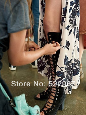 Fashion Rome Boots 2014 summer Hollow knee high boots Thich heels lace women - Rose's Boutique store