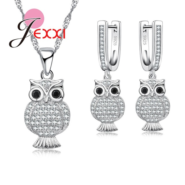 Jemmin Fashion Owl Jewelry Sets For Women Party 925 Sterling Silver Pendant Necklace Earrings Set