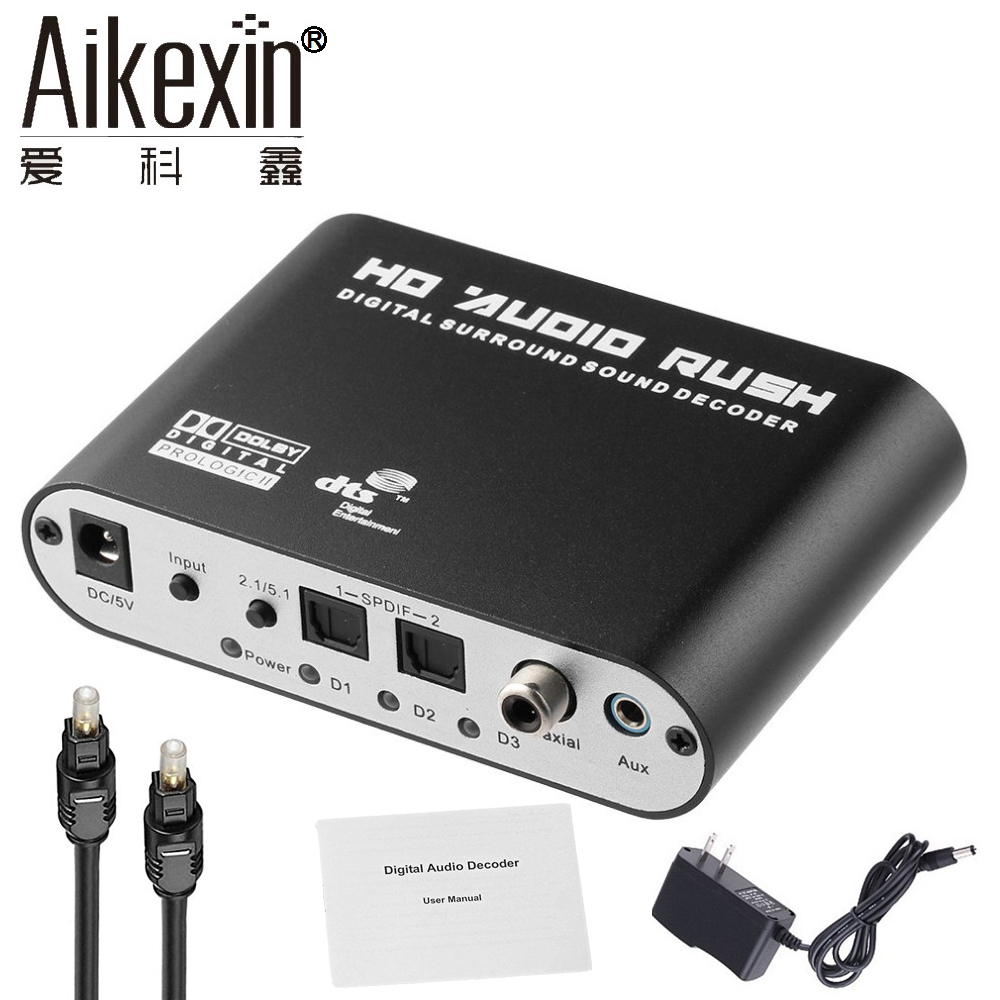 Aikexin 5.1 Audio Decoder Digital AC3 Optical to Stereo Surround Analog HD 2 SPDIF Ports HD Audio Rush for HD Players