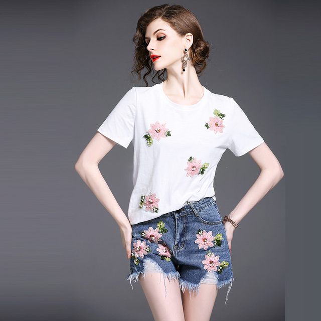 526fa43ef768 2 Piece Set Beaded Embroidery T Shirts+Denim Shorts Women Fashion Tracksuit  Short Sleeve T Shirt Ripped Hole Jeans Shorts Summer
