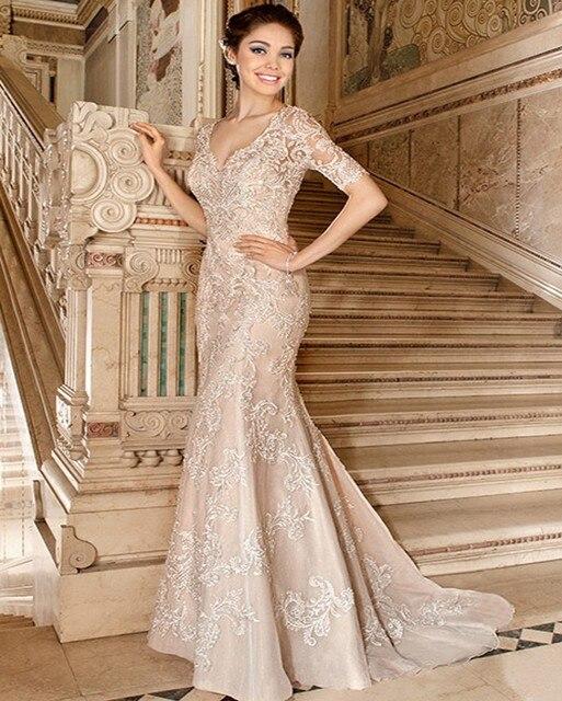 9fb91597f6d trouwjurk Vintage Champagne Lace Mermaid Wedding Dress Elegant V Neck  Appliques Short Sleeve Robe De Mariage Vestido De Noiva
