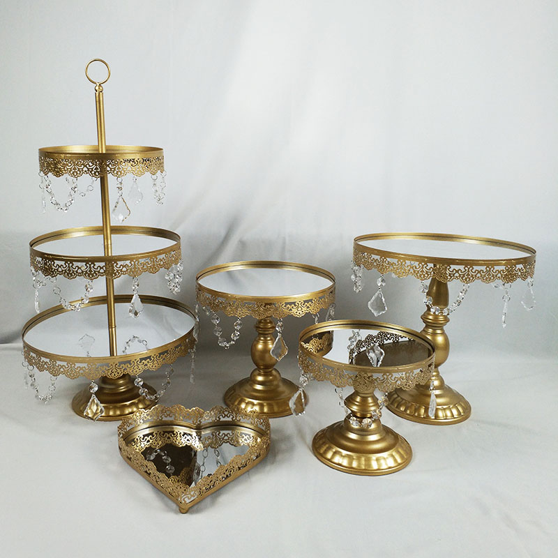 5PCS/ Set Mirror Wedding Decoration Cupcake Stand Party Accessories