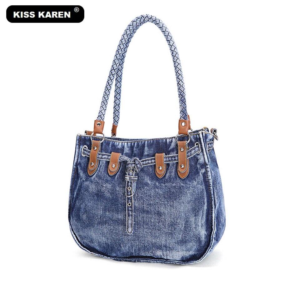senhora casual totes Estilo : Denim-wash Casual Tote Bag, shoulder Bags;lady Handbags