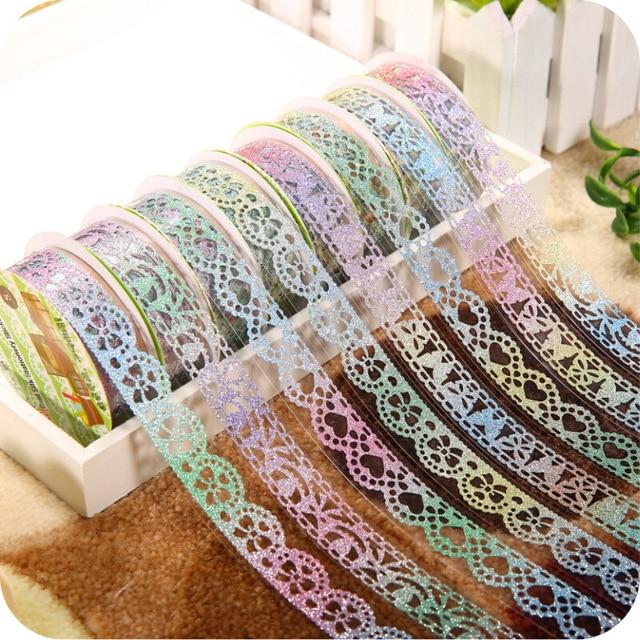 6pcslot Glitter Lace Tape Diary Pda Accessories Handmade Diy Album