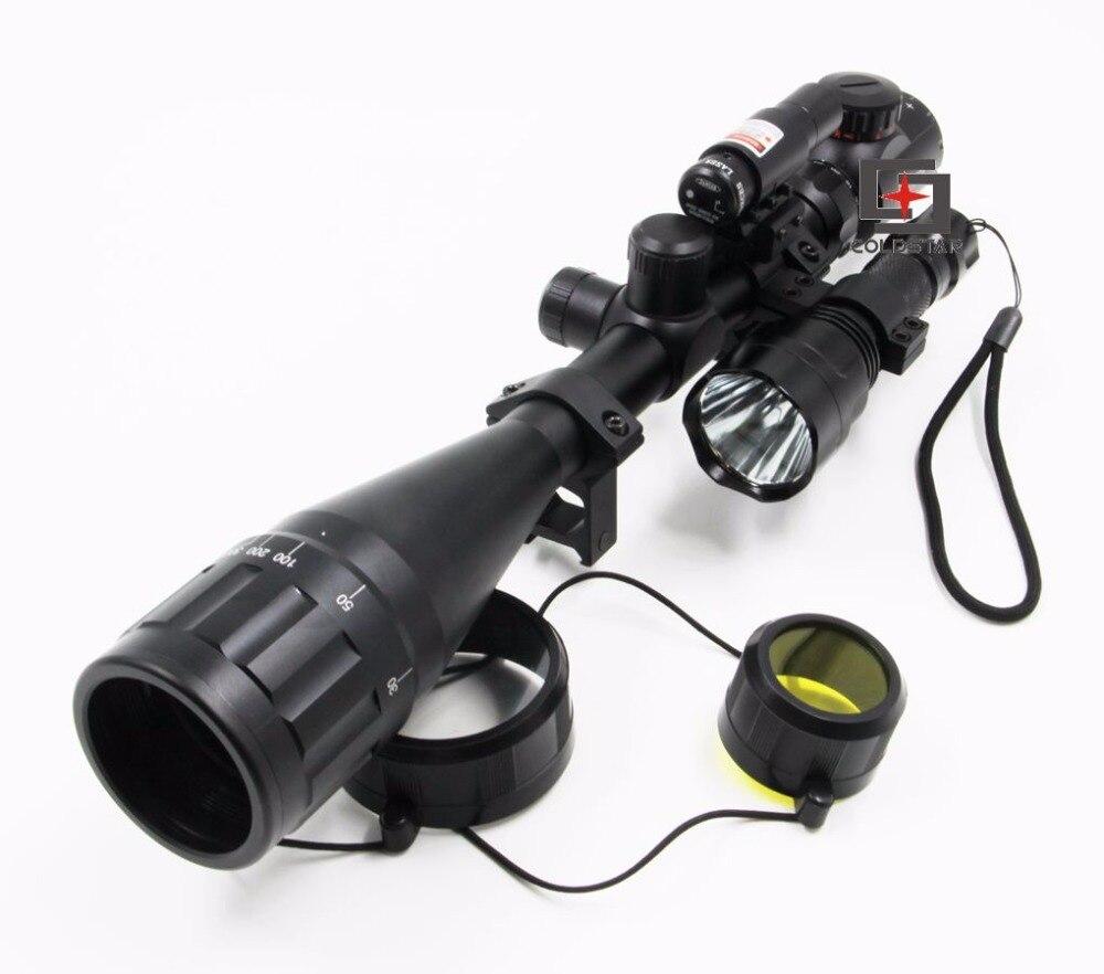 6-24x50AOE Rifle Mira Telescópica compacta Caza Rifle Scope w/Láser y Caza Linte