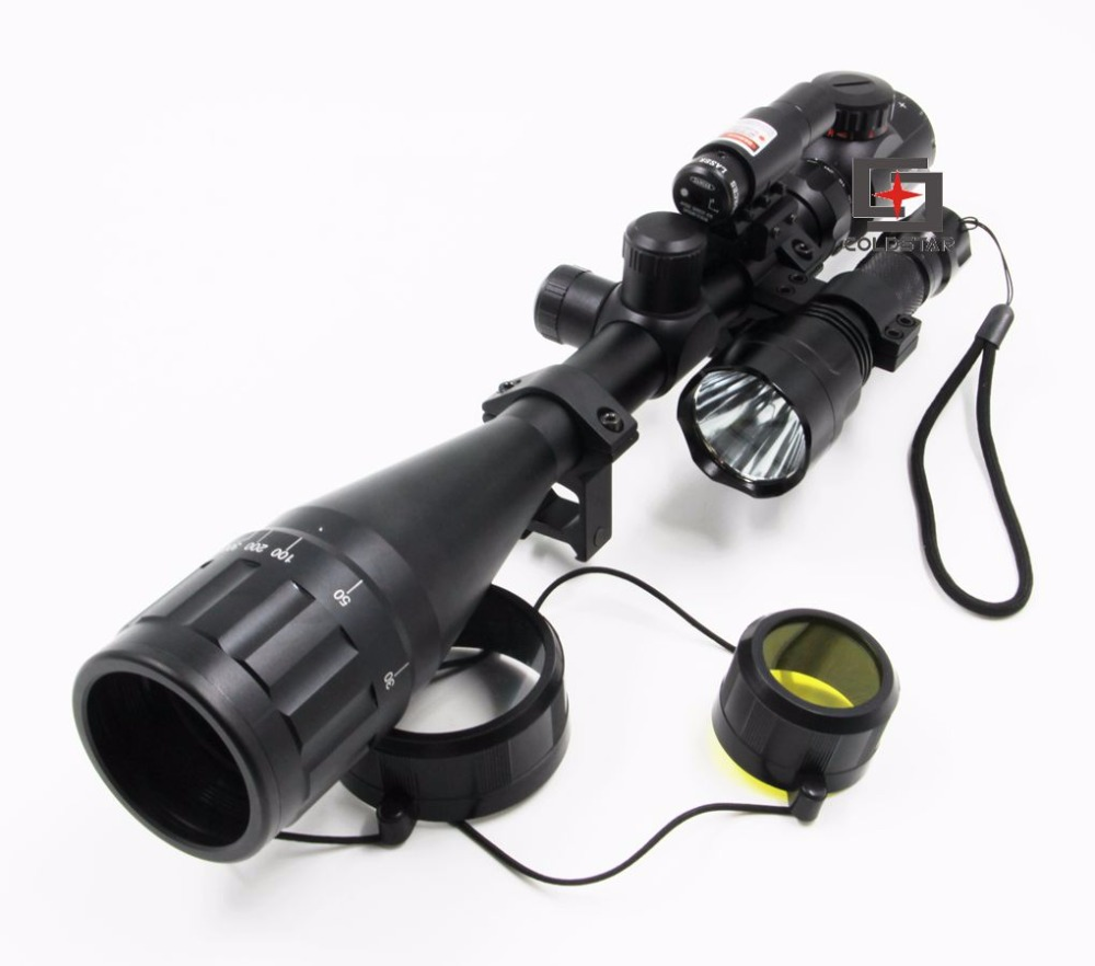 Compact Airgun Riflescope 6-24x50AOE Hunting Rifle Scope w/ Laser & CREE T6 LED Hunting Flashlight 5Mode C8 Torch Flash Light 3800 lumens cree xm l t6 5 modes led tactical flashlight torch waterproof lamp torch hunting flash light lantern for camping z93