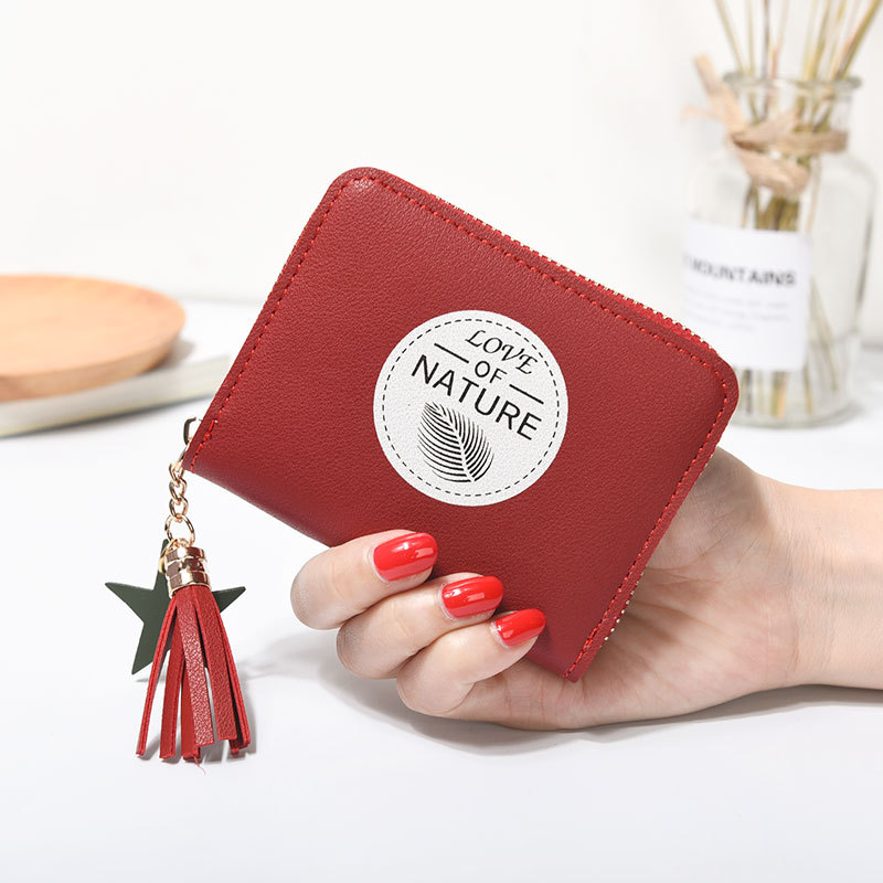 Objective Western Auspicious Female Wallet Red Pink Blue Green Gray Coin Purse Holder Pu Leather Short Women Wallet With Tassel And Chains Women's Bags Luggage & Bags
