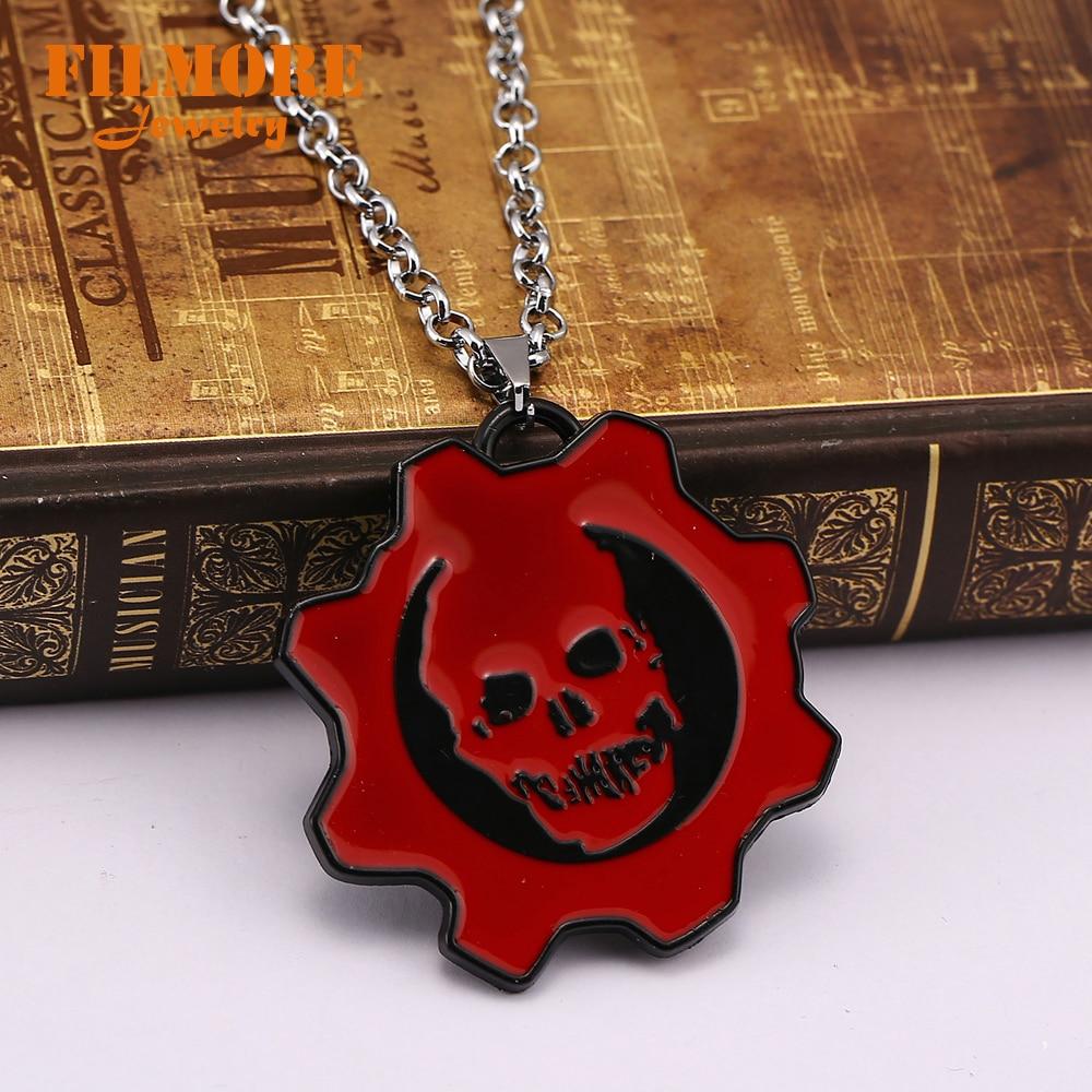 Gears of War III Skull Logo Pendant Necklace Llavero Chaveiro Hot Game Gears Skeleton Symbol Statement Necklace Wholesale&Retail