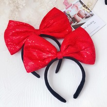 Korea Hair Accessories For Girls Lovely Very Big Bow Butterfly Hairband Party Sequin Headband Band Princess 4