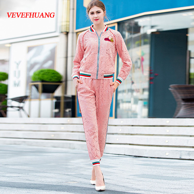 VEVEFHUANG High Quality Fashion Women's Two Piece Set 2018 Autumn New Embroidery Zipper Lace Jacket+Pencil Pant Suit Elegant Set