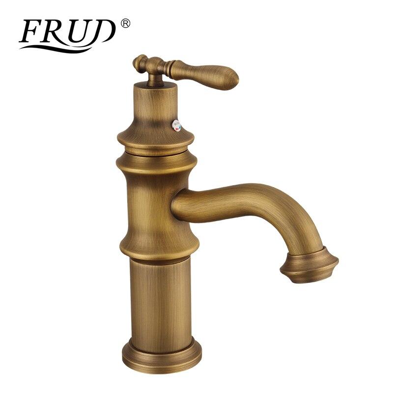 FRUD nouvellement robinet rétro Style salle de bains évier bassin robinet Antique en laiton unique en céramique poignée unique trou pont bassin robinet Y10067