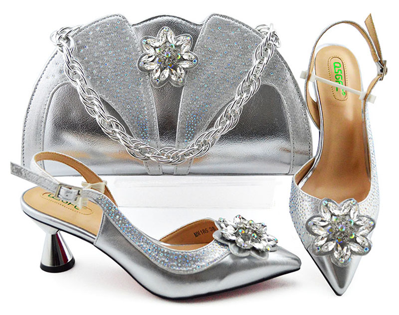 2019 new arrival free shipping low heel 2.7 inches shoe and bag set in silver color italian party shoes matching bag SB8350 7