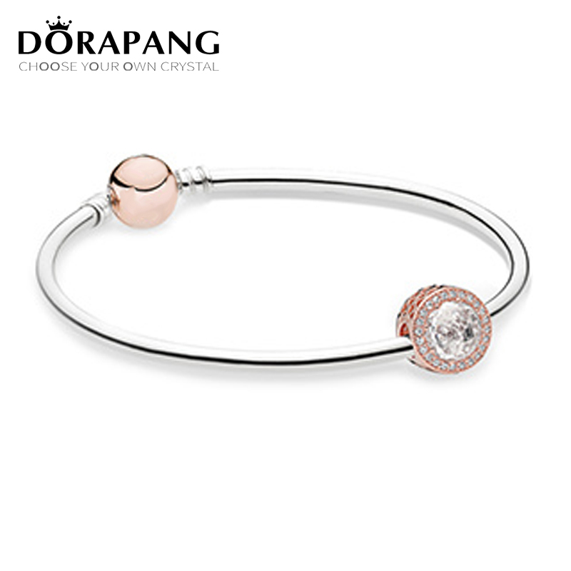 DORAPANG Original 925 Sterling Silver Radiant Hearts Charm Fit Bracelets & Bangle Rose & Clear CZ Women Gift DIY Jewelry tongzhe endless mens bracelets 2018 sterling silver 925 cz rose gold charm infinity tennis bracelets for women jewelry pulsera