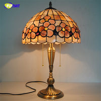 FUMAT Natural Shell Little Flowers Lampshade Table Lamps Tiffany Pink Flowers Table Lights Home Decor BAR Living room Lights