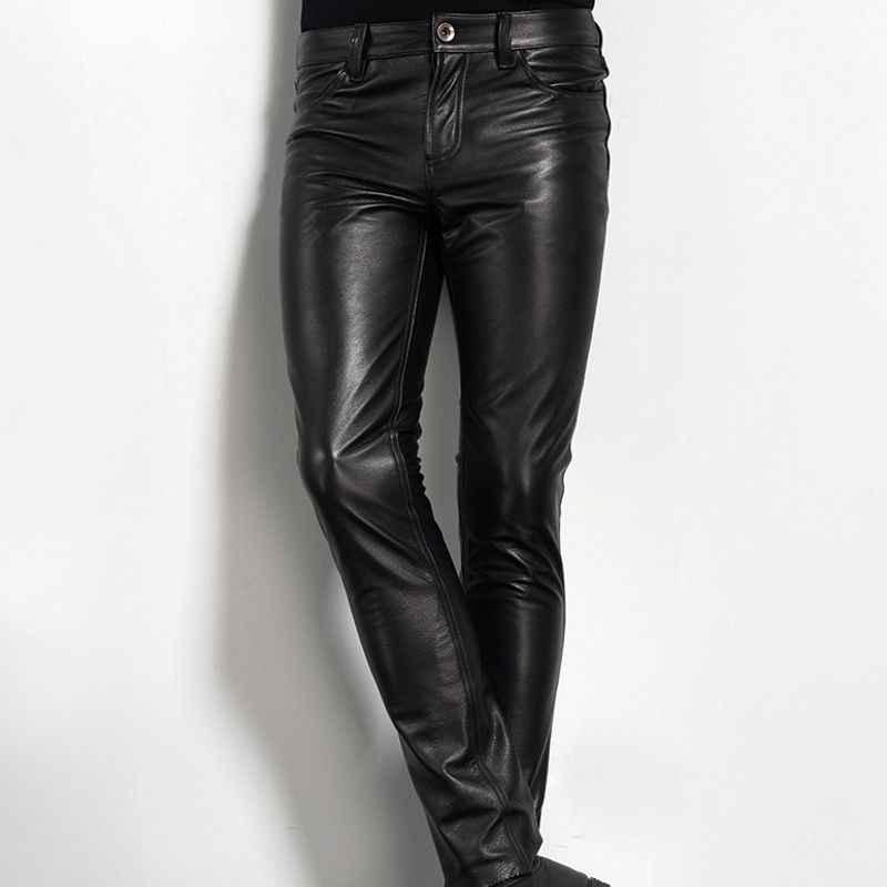 Women genuine leather pants Biker motorcycle pants 30 31 inch Vintage plus size black leather pants Vintage high waist leather pants