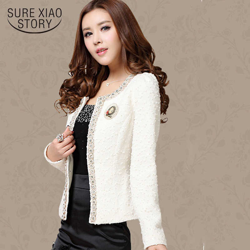 2019 New Women Autumn-Winter coat short design Elegant Beaded Diamond slim Long sleeve Plus size Small Outerwear jacket 661B