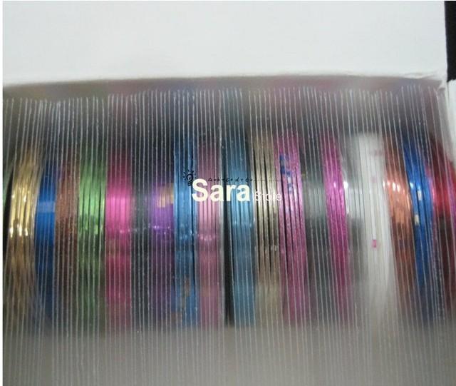 Free shipping-20 Mix Color Rolls Striping Tape Metallic Yarn Line Nail Art Decoration Sticker
