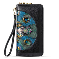 2019 New Women Wallet Genuine Leather Peacork Printing Luxury Designer Ladies Purse Clutches Bag Elegant Noble With Wrist Band