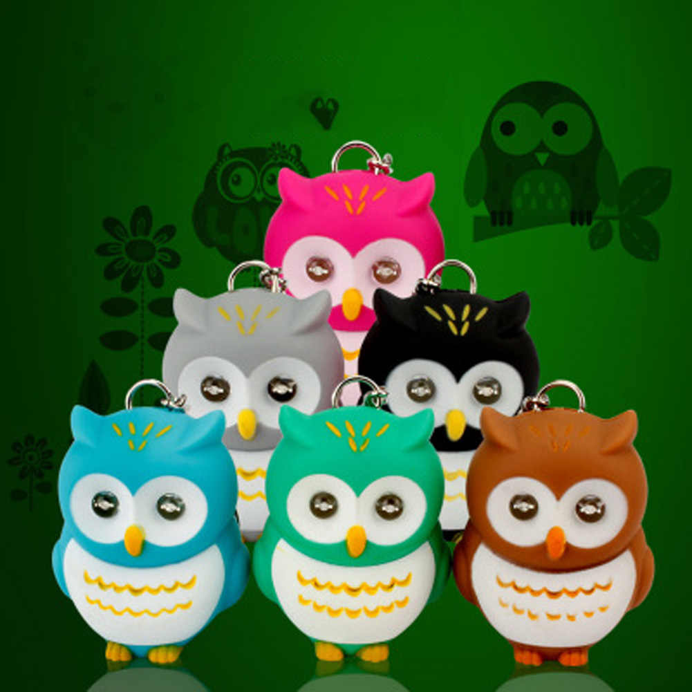Colors Random Cute Owl Led KeyChain Torch Make Sound and Light Cartoon Owl Hooking Key Rings Girl Friend Gift Kid Toys
