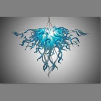 Home Decoration Contemporary Hand Blown Glass Blue Chandelier Lighting