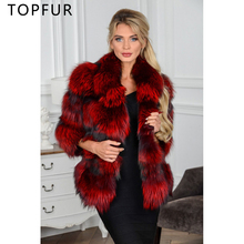 TOPFUR Fashion Winter Silver Fox Fur Coat Luxury Whole Skin Female Jacket With Collar  Red Color Women Natural