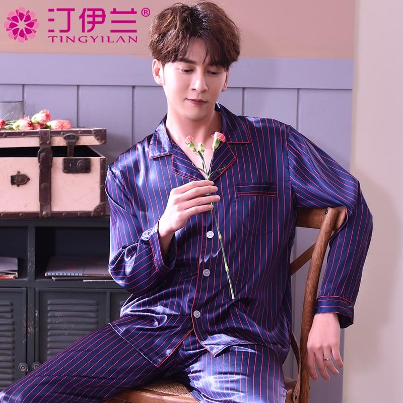 Men's Silk Sleepwear Long Sleeve Homewear Adult Leisure Nightwear Students Sleepsuit Plus Size Silk Nightsuit Men Pijama J002