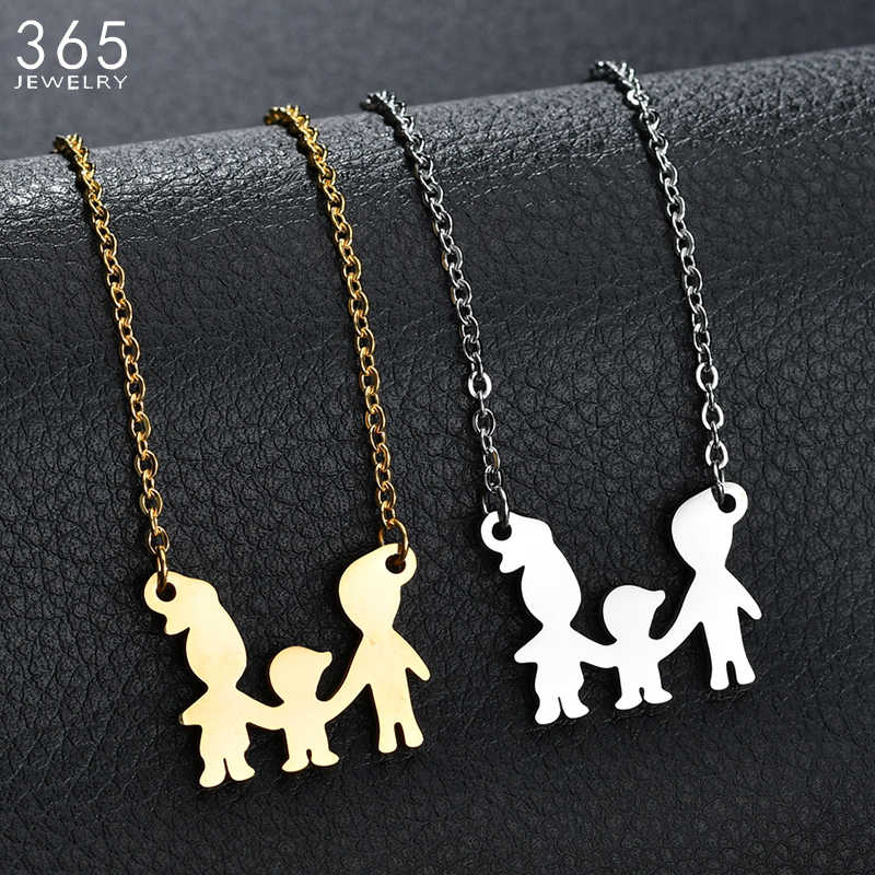 New Classic Stainless Steel Cartoon Mom Dad Boy Girl Necklace For Women Parents Son Daughter Love Chain Necklace Family Jewelry