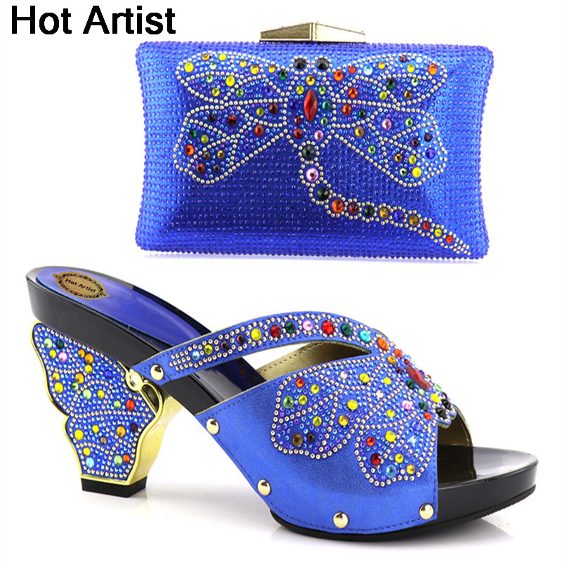 Hot Artist New Arrival Italian Desgin Woman Shoes And Bag Set African Style High Heels Shoes And Purse Set For Party YH-10 hot artist new arrival italian style rhinestone woman shoes and bag set african high heels shoes and bag purse for party dress
