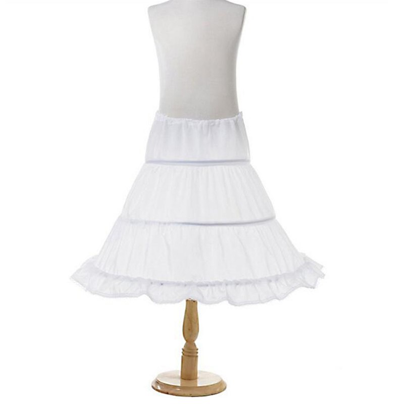 Girls Floral Petticoat 2-3 Hoops Children Crinoline for Evening Princess Costume Kids Underskirt Tutu Skirt A Line White