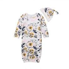 Для малышей, с цветочным узором пеленки одеяло для сна сумка постельные принадлежности шляпа комплект из 2 предметов