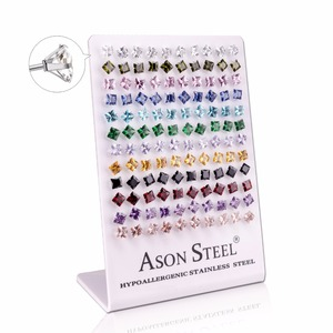 Image 2 - ASONSTEEL Silver Color 6mm Square Crystal Cubic Zirconia Stud Earrings for Women Stainless Steel Earings boucles doreilles
