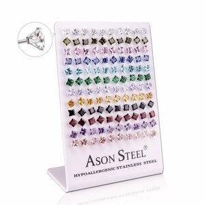 Image 2 - Asonsteel Zilver Kleur 6Mm Vierkante Crystal Cubic Zirconia Stud Oorbellen Voor Vrouwen Roestvrij Staal Oorbellen Boucles D Oreilles