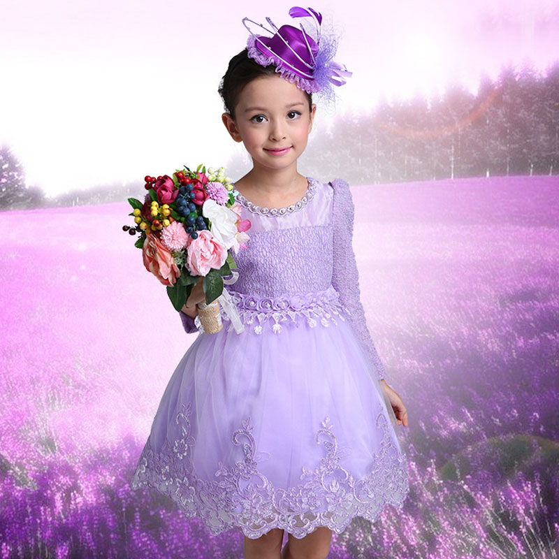 2017 spring girl dresses wedding party children lace dress quality toddler baby girl clothes casual kids costume infant clothing toddler girl dresses chinese new year lace embroidery flowers long sleeve baby girl clothes a line red dress for party spring