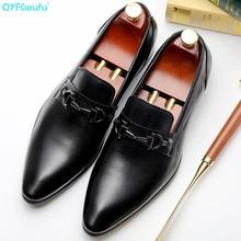 QYFCIOUFU New Pointed Toe Men Dress Shoes Genuine Leather Designer Luxury Classic Business Wedding Office Elegant Formal