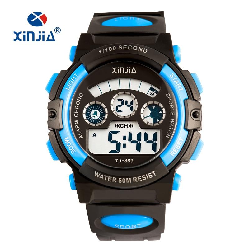 New XINJIA Fashion Studetn LED Dgital Sport Watch For Children Casual Woment Men Super 50M Waterproof Boy Girl Swimming Shock