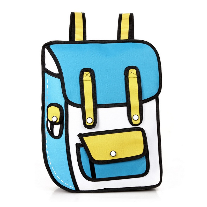 Korea Boys Girls Novelty School Bags Student 3D Drawing Bag 2D Cartoon Comic Bookbag Personality Backpack Second Element Bagpack
