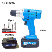 Xltown 21v 80NM cordless drill  high-capacity rechargeable lithium battery Electric screwdriver Household electric drill bits