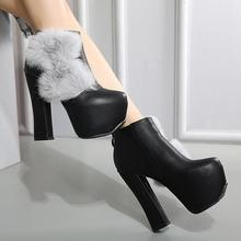 MANMITU10-Free ShipingNEW Vogue Winter Shoes Women Ankle Boots Fuzzy Bowtie Fashion Heeled Short Boot Botas Round Toe Thick Heel