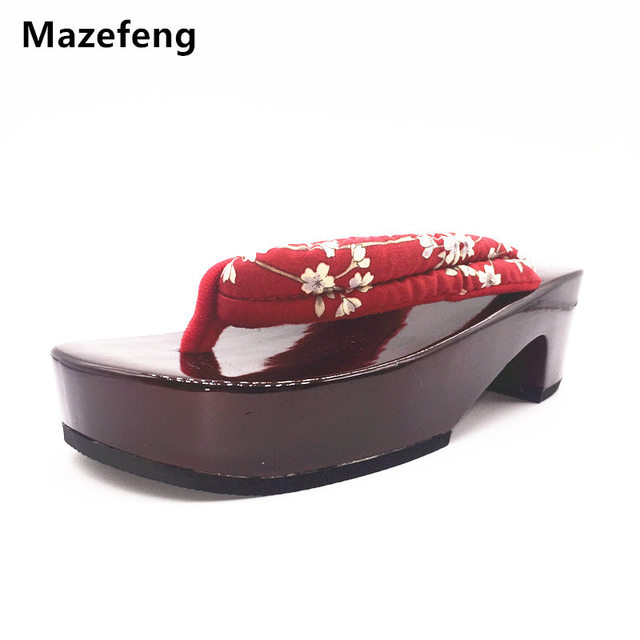 Mazefeng Summer flip-flops Women Clogs geta platform Shoes non-slip  Japanese geta cosplay Women slipper wooden shoes flip-flops 6a858b3caf