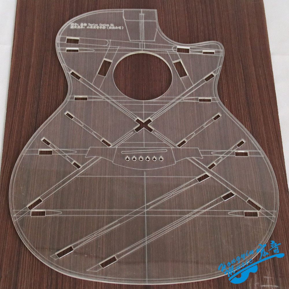 41inch GA Sharp Corners Rounded Corners Acoustic Wood Guitar Transparent Acrylic Template Sound Beam Hole Code